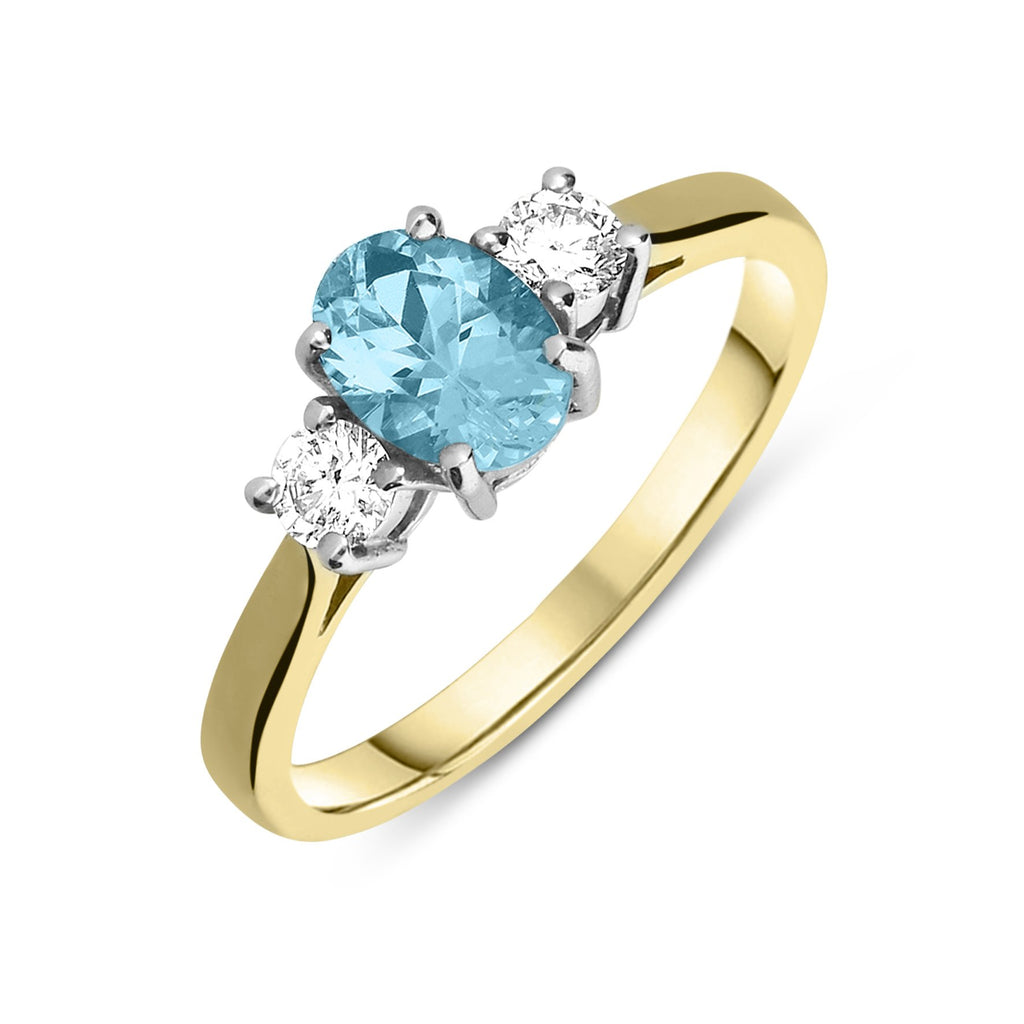 18ct Yellow Gold 0.83ct Aquamarine and Diamond Three Stone Ring