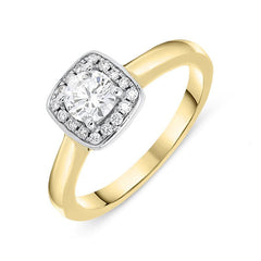 18ct Yellow Gold 0.38ct Diamond Brilliant Cut Halo Ring