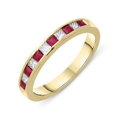 18ct Yellow Gold 0.40ct Ruby Diamond Half Eternity Ring