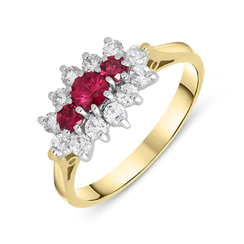18ct Yellow Gold 0.40ct Ruby Diamond Vintage Cluster Ring