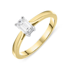 18ct Yellow Gold 0.46ct Diamond Emerald Cut Solitaire Ring