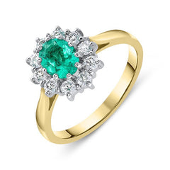 18ct Yellow Gold 0.55ct Emerald Diamond Cluster Ring