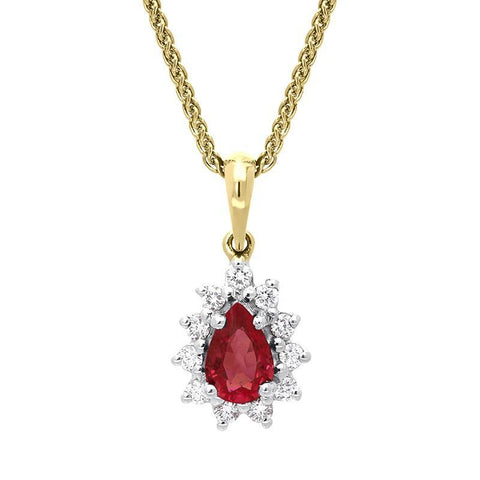 18ct Yellow Gold 0.56ct Ruby Diamond Pear Cluster Necklace