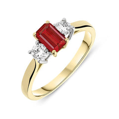 18ct Yellow Gold 0.57ct Ruby Diamond Trilogy Ring