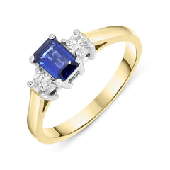 18ct Yellow Gold 0.57ct Sapphire Diamond Emerald Cut Trilogy Ring