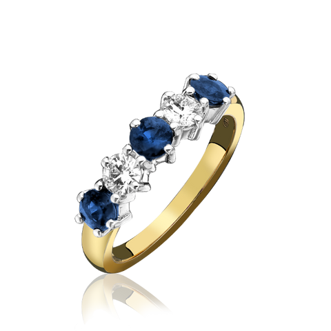 18ct Yellow Gold Sapphire Diamond Claw Set Half Eternity Ring