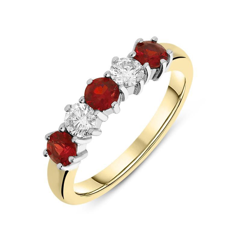 18ct Yellow Gold 0.61ct Ruby Diamond Half Eternity Ring