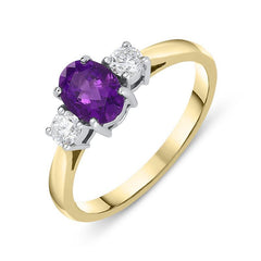 18ct Yellow Gold 0.66ct Amethyst Diamond Oval Trilogy Ring