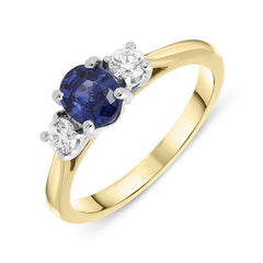 18ct Yellow Gold 0.73ct Sapphire Diamond Oval Cut Trilogy Ring
