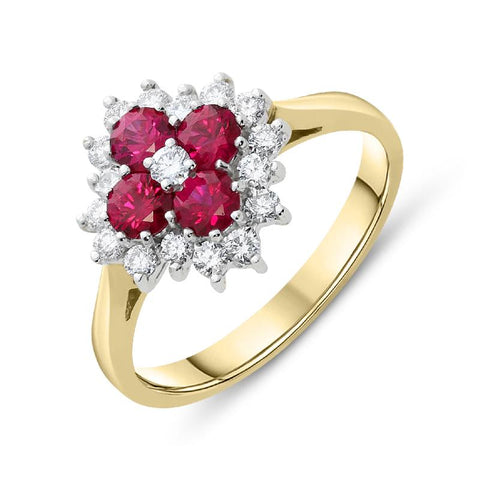 18ct Yellow Gold 0.75ct Ruby Diamond Floral Cluster Ring