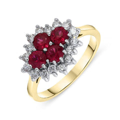 18ct Yellow Gold 0.85ct Ruby Diamond Cluster Ring