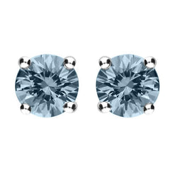 18ct Yellow Gold 0.91ct Aquamarine Solitaire Stud Earrings