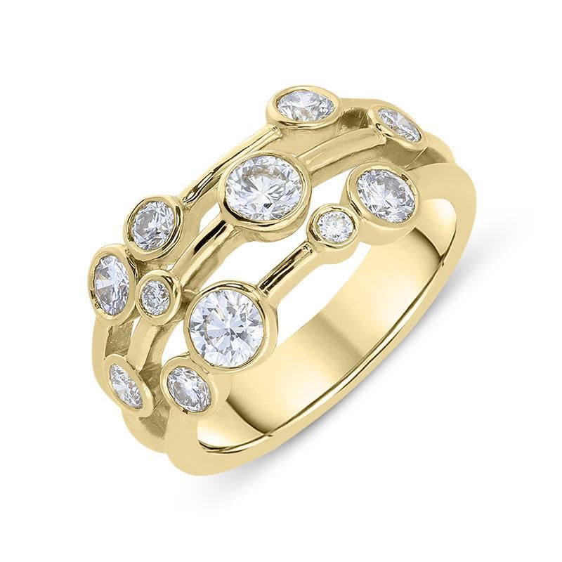 18ct Yellow Gold 0.96ct Diamond Bubble Dress Ring