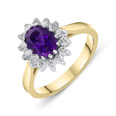 18ct Yellow Gold 1.12ct Amethyst Diamond Oval Cluster Ring