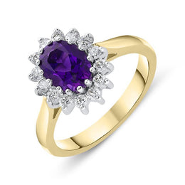 18ct Yellow Gold 1.12ct Amethyst Diamond Oval Cluster Ring, FEU-1283.