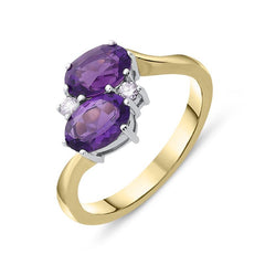 18ct Yellow Gold 1.45ct Amethyst Diamond Cross Over Ring