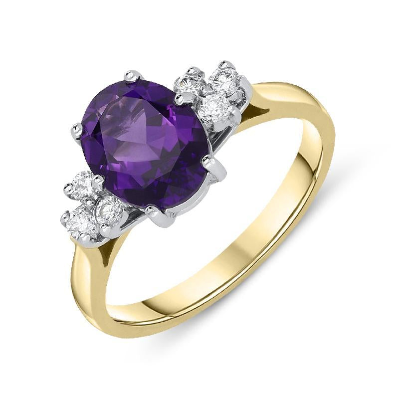 18ct Yellow Gold 1.54ct Amethyst Diamond Oval Cut Ring