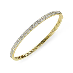 18ct Yellow Gold 1.87ct Diamond Hinged Bangle