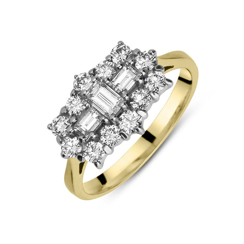 18ct Yellow Gold 2.01ct Diamond Baguette and Brilliant Cut Cluster Ring
