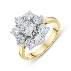 18ct Yellow Gold 2.18ct Diamond Floral Cluster Ring