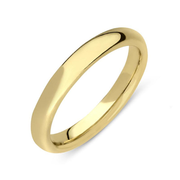 18ct Yellow Gold 2.5mm Court Shape Wedding Ring, CGN-222.