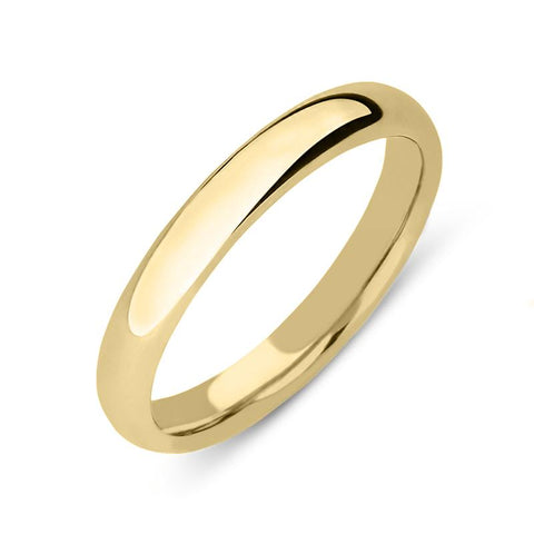 18ct Yellow Gold 3mm Court Shape Wedding Ring