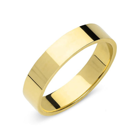 18ct Yellow Gold 5mm Flat Court Shape Wedding Ring