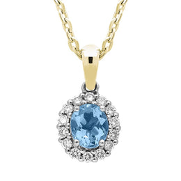 18ct Yellow Gold Aquamarine Diamond Cluster Necklace, FEU-420.