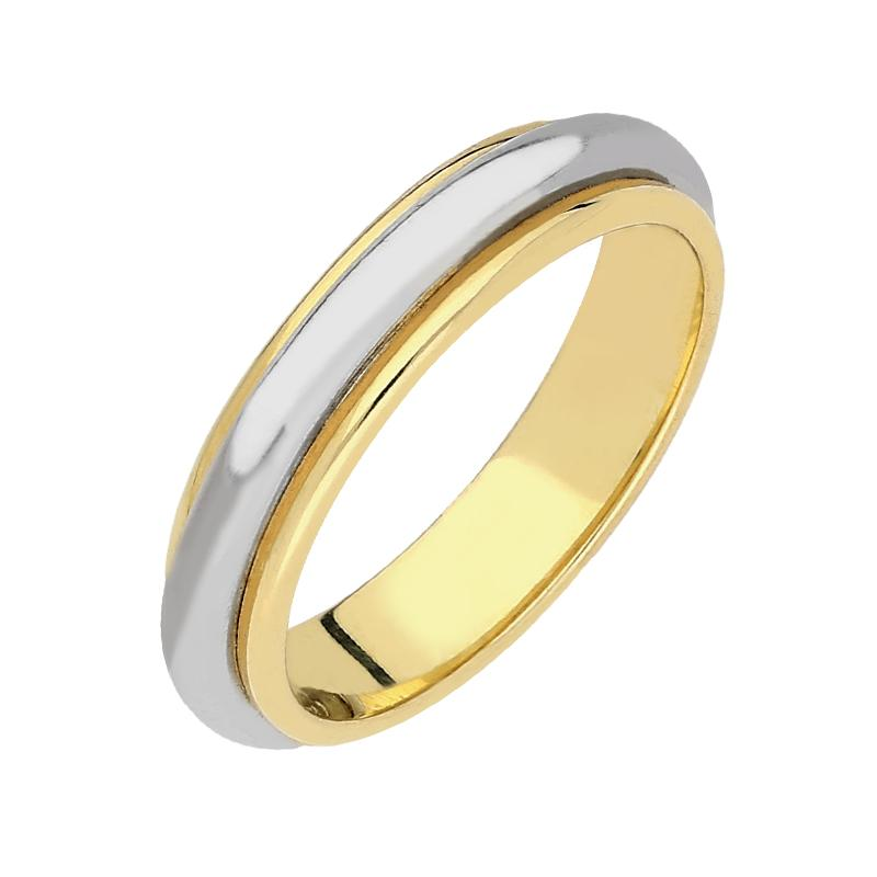 18ct Yellow Gold Bi-Colour Wedding Ring