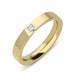18ct Yellow Gold Diamond Princess Cut Wedding Ring, CGN-328.