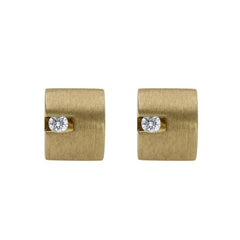 18ct Yellow Gold Diamond Satin Stud Earrings
