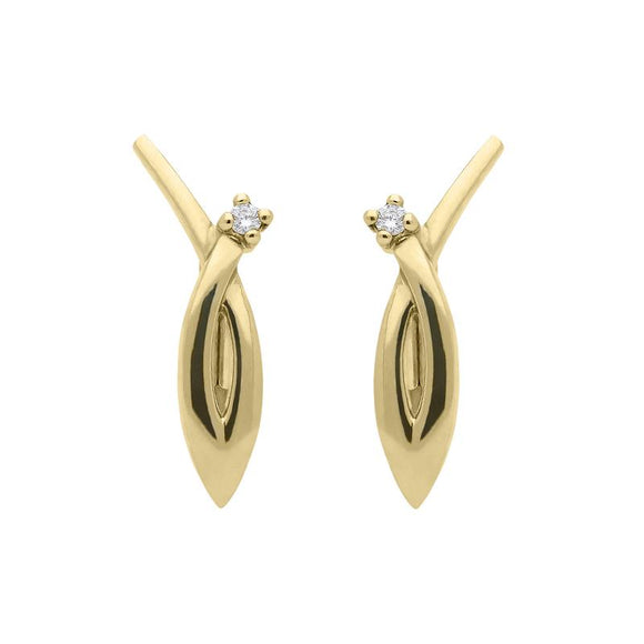 00077472 W Hamond 18ct Yellow Gold Diamond Shaped Earrings, BRN-193.