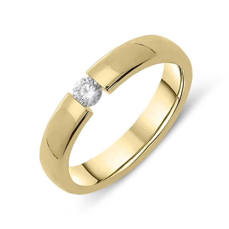 18ct Yellow Gold Diamond Tension Set Wedding Ring