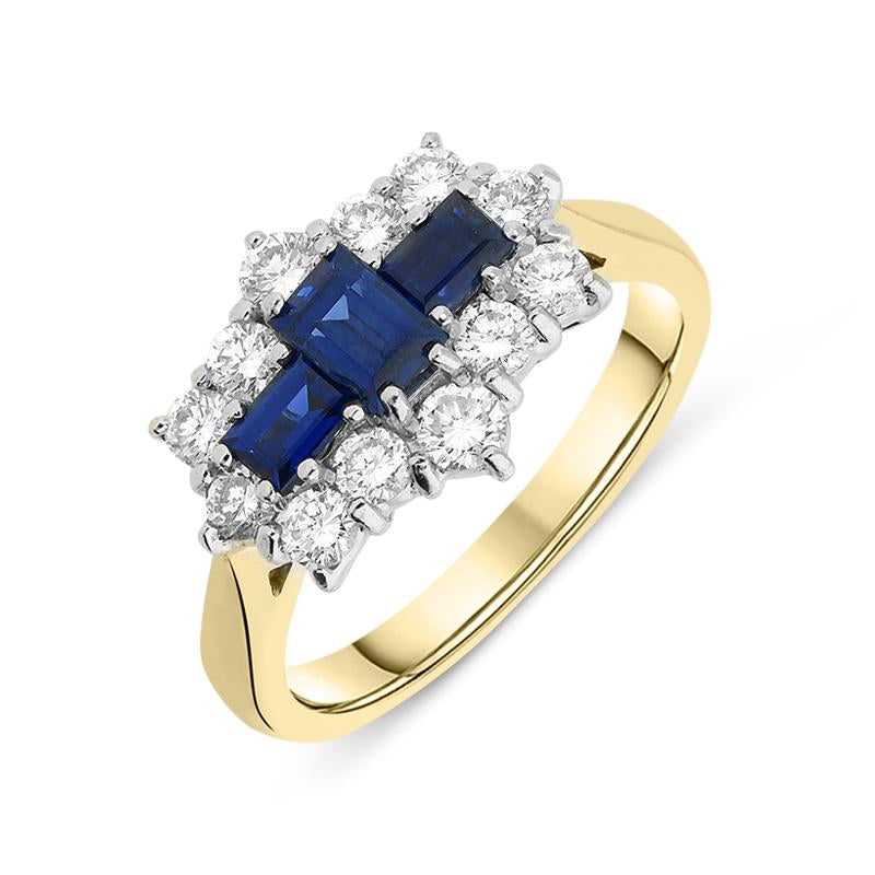 18ct Yellow Gold Emerald Cut Sapphire Diamond Cluster Ring