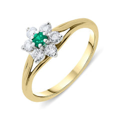 18ct Yellow Gold Emerald Diamond Floral Cluster Ring