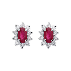 18ct Yellow Gold Ruby Diamond Cluster Stud Earrings