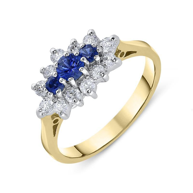 18ct Yellow Gold Sapphire Diamond Brilliant Cut Cluster Ring