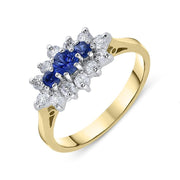 00149729 W Hamond 18ct Yellow Gold Sapphire Diamond Brilliant Cut Cluster Ring, FEU-1481