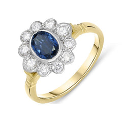 18ct Yellow Gold Sapphire Diamond Floral Cluster Ring