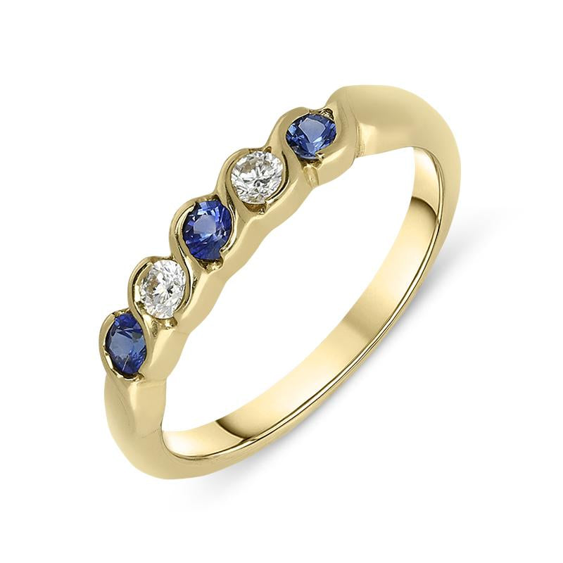 18ct Yellow Gold Sapphire Diamond Half Eternity Ring