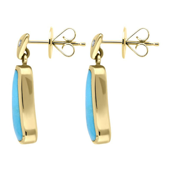 00071110 W Hamond 18ct Yellow Gold Turquoise 0.06ct Diamond Abstract Drop Earrings, E739.