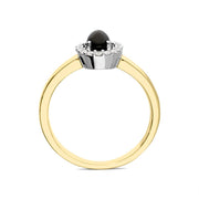 00176150 W Hamond 18ct Yellow Gold Whitby Jet 0.12ct Diamond Cluster Ring R883