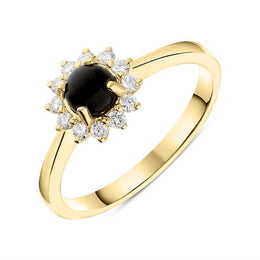 00144933 W Hamond 18ct Yellow Gold Whitby Jet 0.18ct Diamond Round Flower Cluster Ring R884