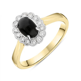 18ct Yellow Gold Whitby Jet 0.22ct Diamond Oval Ring