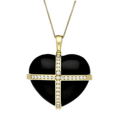 18ct Yellow Gold Whitby Jet 1.00ct Diamond Large Cross Heart Necklace