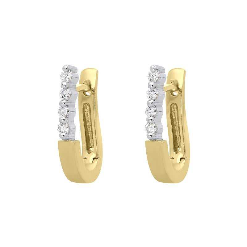 18ct Yellow and White Gold Diamond Hoop Earrings