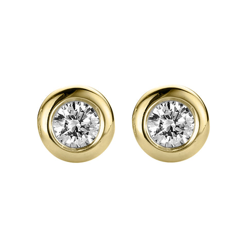 18ct Yellow Gold 0.25ct Diamond Bezel Set Solitaire Stud Earrings
