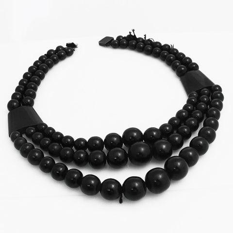 Antique Whitby Jet Triple Beaded Necklace