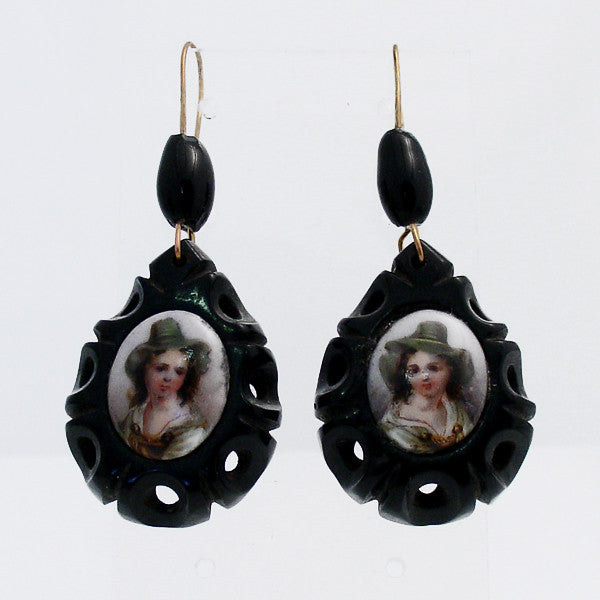 Whitby Jet Antique Carved Teardrop Coloured Cameo Drop Earrings