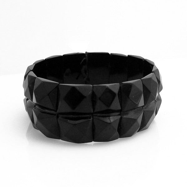 Antique Whitby Jet Faceted Square Shape Double Band Bracelet